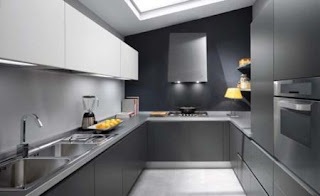 dark grey steel kitchen cabinet