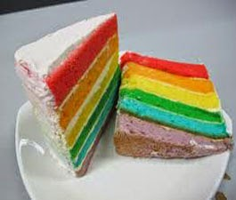 resep praktis dan mudah membuat (memasak) rainbow cake panggang enak, lezat