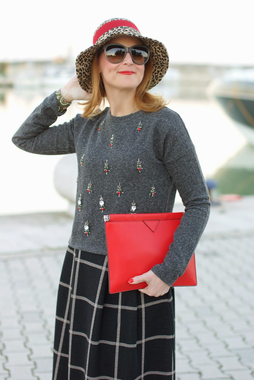 rhinestones sweatshirt, embellished top, check midi skirt, red clutch, Fashion and Cookies, fashion blogger