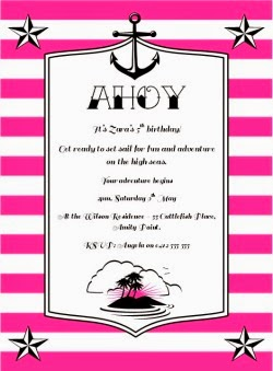 Nautical Sailor Invitation - Pink