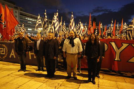 Golden Dawn members and politicians rally outside Greek parliament. Demotix/Michael Debets. All rights reserved.