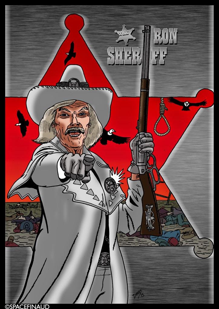 """THE IRON SHERIFF, l'homme qui dirige sa ville de """"SILVER CITY"""" avec une main de fer. Avec ses méthodes expéditives, il ne recule devant rien...  Pour une fois, je n'ai pas utilisé l'inoubliable Lee Van Cleef pour le rôle du shérif Texan mais un autre acteur qui a, lui aussi une bonne """"gueule"""". Il s'agit de L.Q. Jones, acteur et réalisateur."""