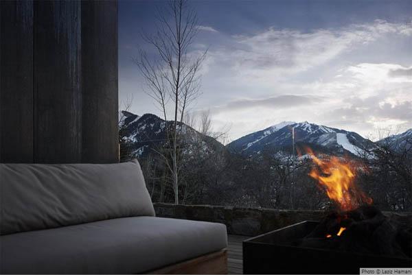 vista de la montaña nevada desde el salon chimenea