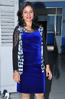 Jyothi in Lovely Short Blue Dress and High Heels at Mental olive movie Location