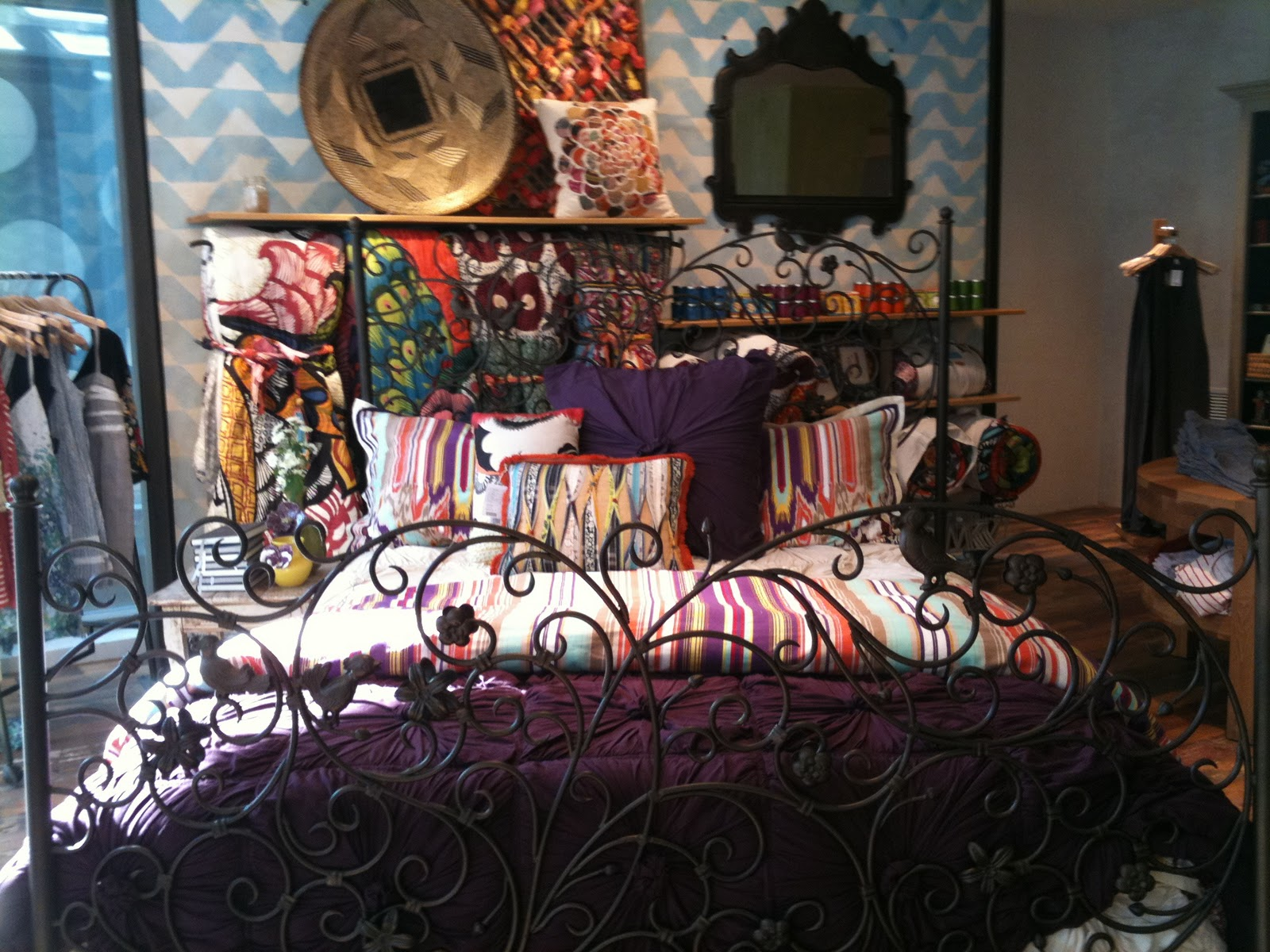 Anthropologie bedding - One Day While Working At Anthropologie I Was Given A Merchandising Task I Was Asked To Choose Bedding Steam It And Make The Bed In Our Home Section