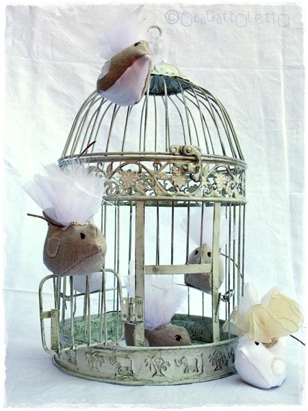 bomboniere shabby chic uccellino