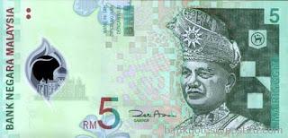 RM5, 5 Ringgit, Ringgit Malaysia, Duit, Wang