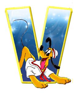 Alfabeto de personajes Disney con letras grandes V Pluto.