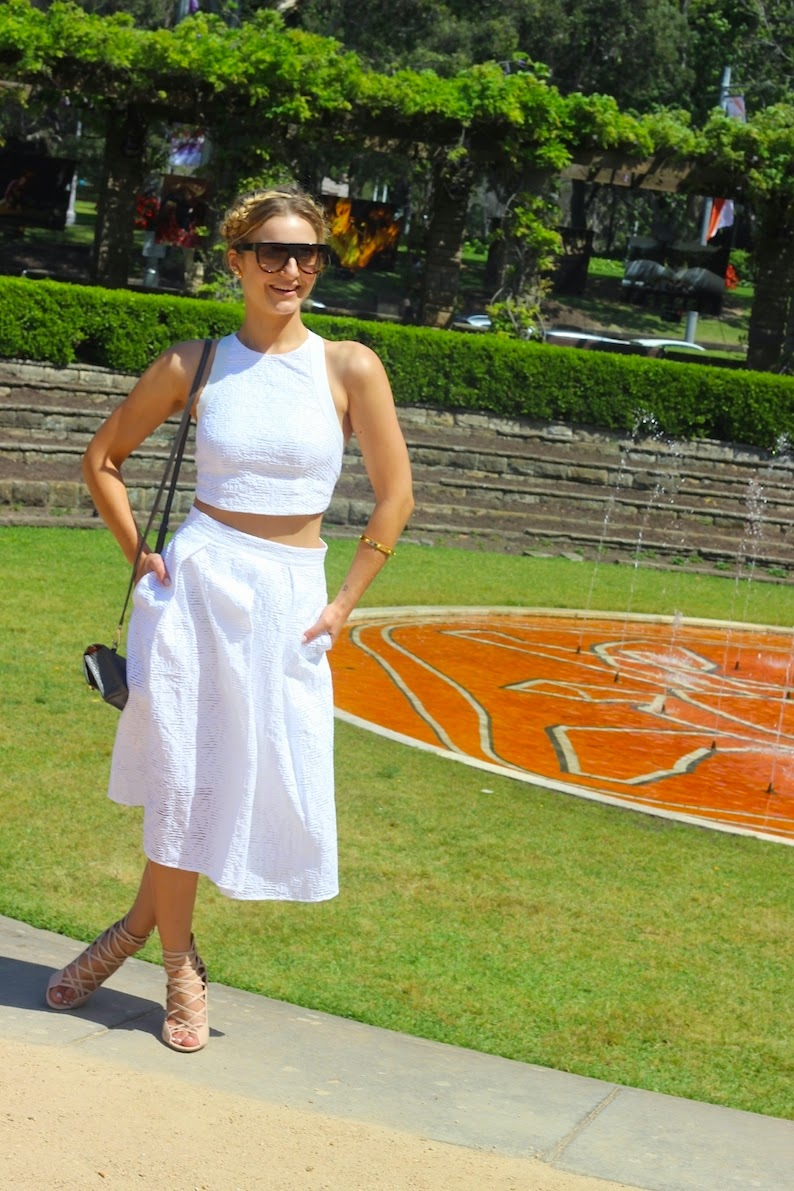 Sheike Two Piece White lace set Vogue Vandal Fashion Blogger Domenica Calarco Celine Shadows Sunglasses Vision Direct