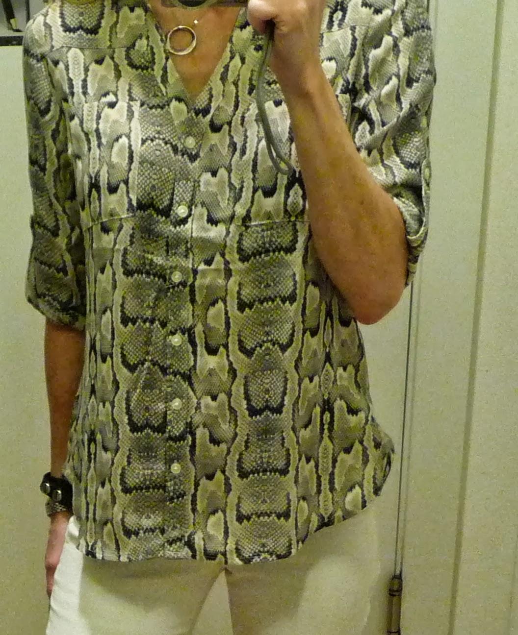 Express Portofino shirt, blouse, top, python print, snake print