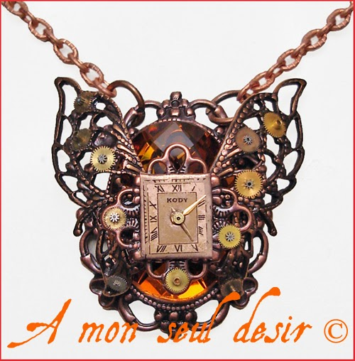 Collier Steampunk Papillon Cuivre Cadran de Montre Watch Dial Butterfly Necklace Copper