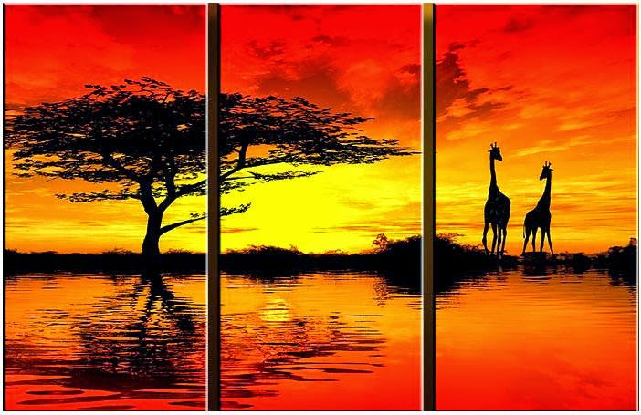 African art Landscape Sunset Painting Artwork