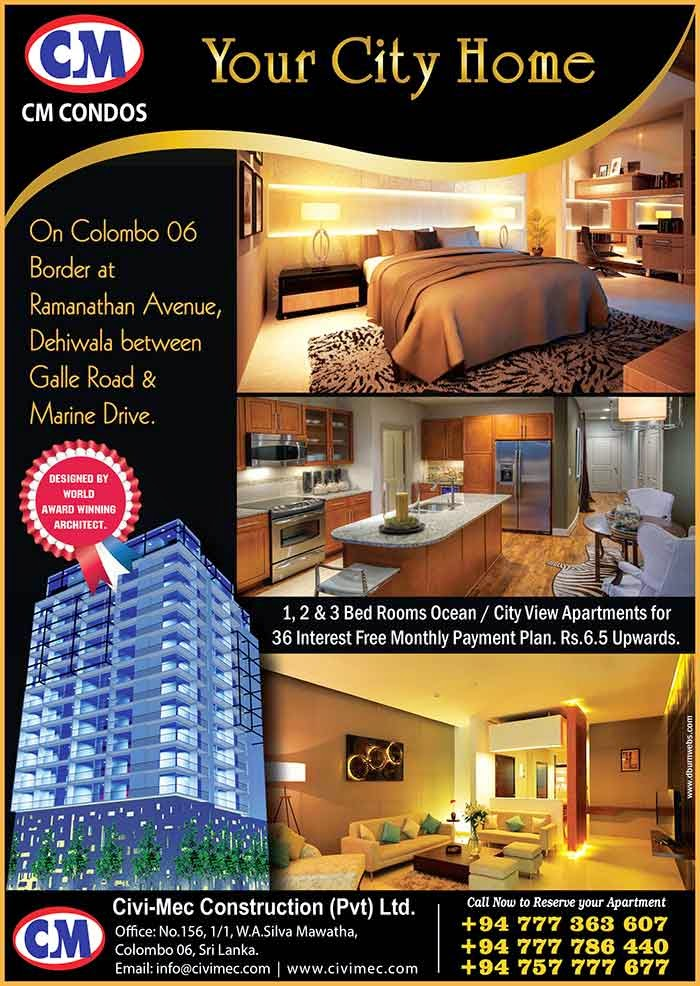 """""""CM Condos"""" Elegant Lifestyles, the 7th Project by """"CM Condos"""" Centrally Located on the Border of Colombo 06, Between Galle Road & Marine Drive, at No.14, Ramanathan Avenue, Dehiwala, Comprising 105 Ocean View & City View Apartments & Duplex Pent Houses in 12 Floors, the 1st State of the Art Condominium Development in Dehiwala, Designed by a World Award Winning Architect."""