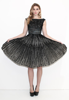 Vintage 1950's black velvet and nude lace striped party dress