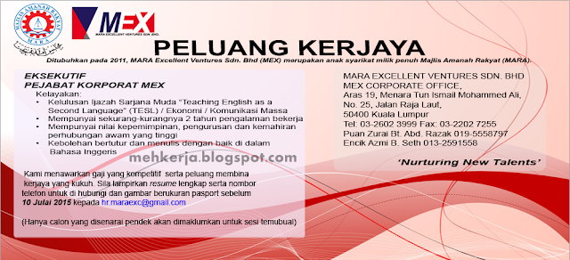 Jawatan Kosong di Mara Excellent Venture Sdn. Bhd (MEX)