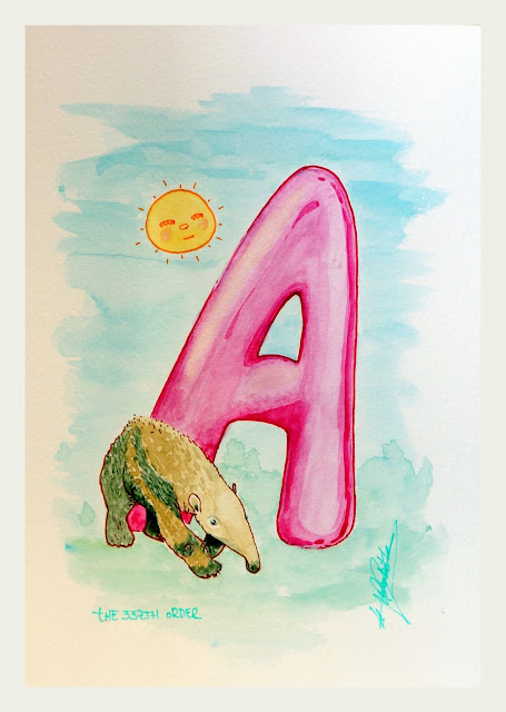 A for anteater, Letter of alphabet watercolour artwork by Elizabeth Casua, tHE 33ZTH oRDER. Nursery / painting