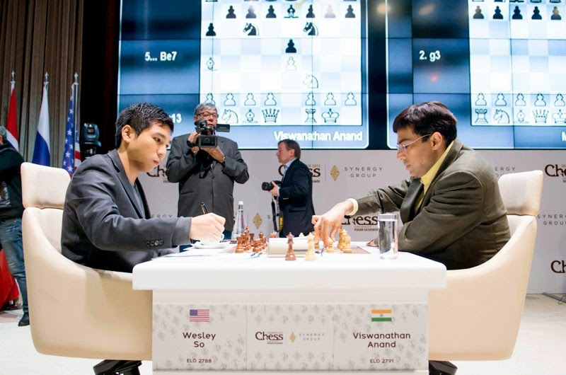 Viswanathan Anand bat Wesley So à la ronde 5 du Mémorial Vugar Gashimov - Photo © Shamkir Chess Tournament 2015