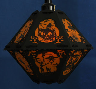 Space cat, witch, and alien on vintage style #4 paper lantern by Bindlegrim