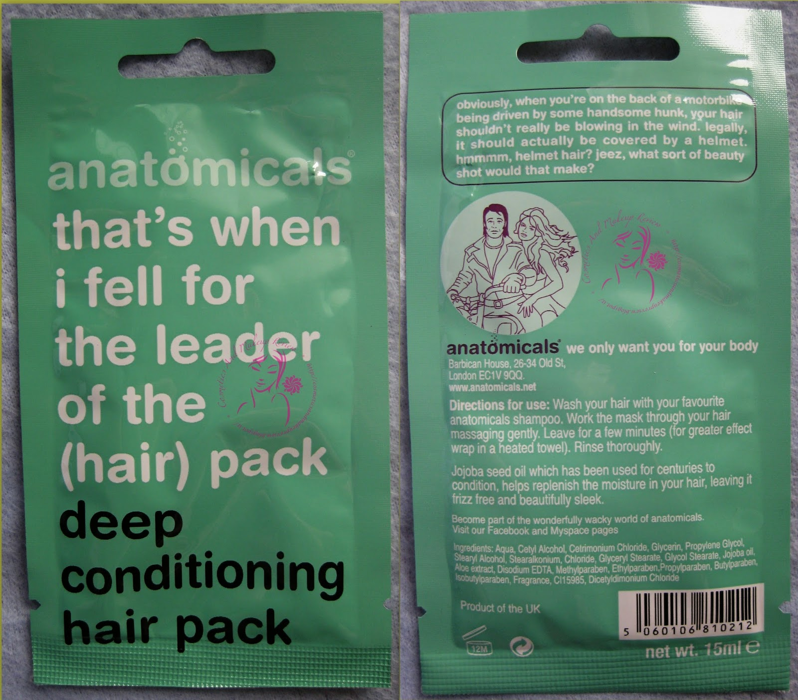 Anatomicals - That's When I fell for the leader of the (hair ) pack - Deep conditioning hair pack - packaging