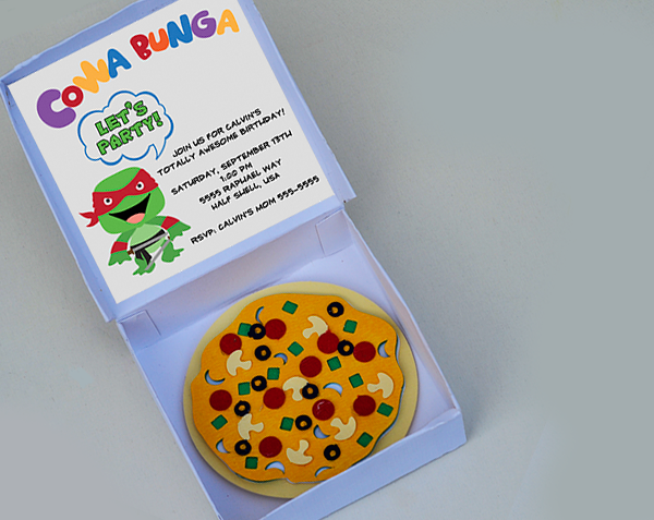 Ld solutions 3 d ninja turtle party invitation with pizza box get creative for your childs teenage mutant ninja turtle party and get the invitees excited about the party with these 3 d pizza box invitations solutioingenieria Images