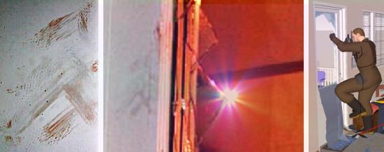 Ulvilan murha - poistuminen takaoven ikkunasta ja tekijän vammat