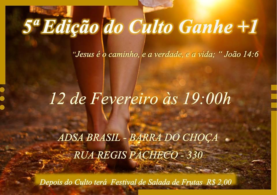 CULTO GANHE GANHE +1