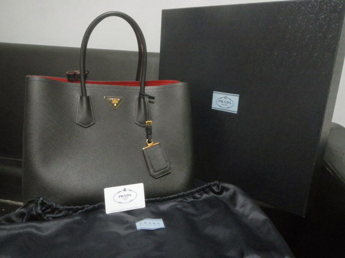prada small messenger bag - prada double bag saffiano black new