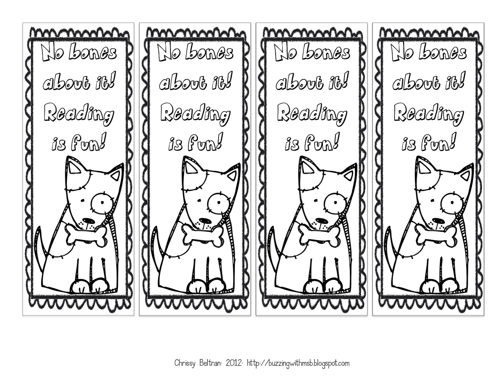 Valentine bookmark to color - Printable Bookmarks