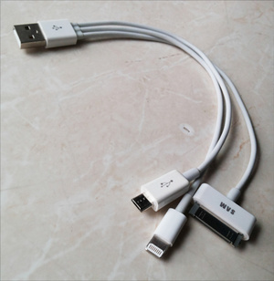 Kabel Cas USB 3in1 (Micro Usb, Iphone 5 , Samsung Tablet)