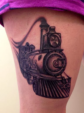 Black and White Train Tattoo