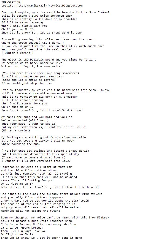 Random Jpop and Kpop Lyrics + Translations : X4 – Snow Flakes ...