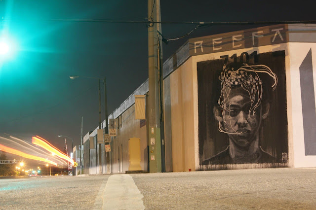 """Tribute To Reefa"" Street Art By Axel Void In Miami USA. night view"