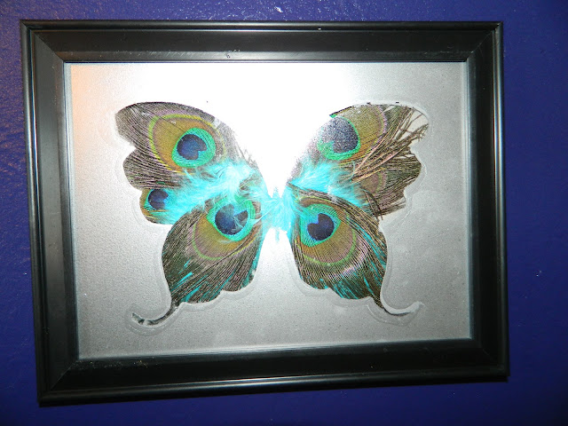 DIY artwork butterfly peacock feather  Just Peachy, Darling