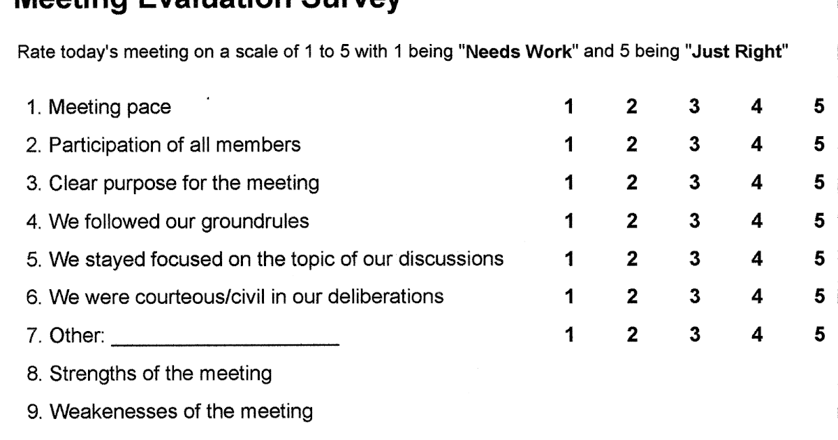 Your Communication Connection Get buyin and improve meetings – Meeting Evaluation Form