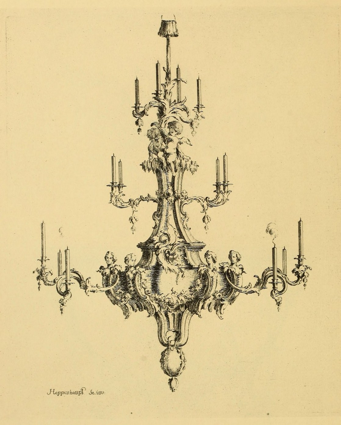 Sisters Warehouse: Beautiful Chandelier Louis XV - Antique Print
