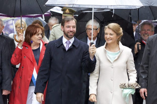 Prince Guillaume, Hereditary Grand Duke of Luxembourg and Princess Stephanie, Hereditary Grand Duchess of Luxembourg visit Esch on National Day