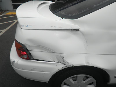 Almost Everything Autobody quarter panel before repair on 1992 Toyota Paseo