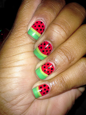 Julep Rose, Julep Leah, watermelon, polka dot, summer, summery, nail art, nail design, mani