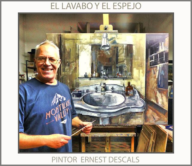 LAVABO-ESPEJO-PINTURAS-PINTAR-VIDA COTIDIANA-PINTURA-CUADROS-FOTOS-ARTISTA-PINTOR-ERNEST DESCALS-