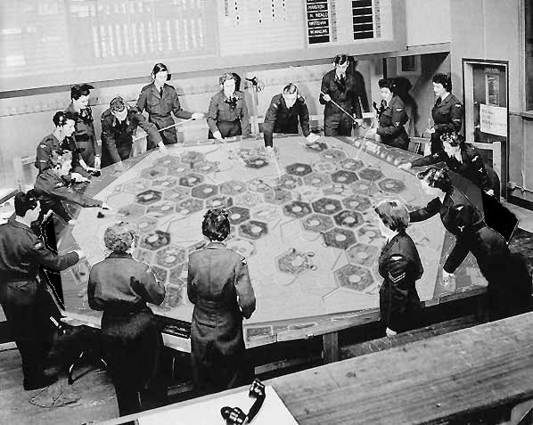 RAF ops room with Catan board in place of map