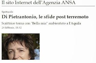Articolo Ansa sul nuovo libro di Donatella Di Pietrantonio