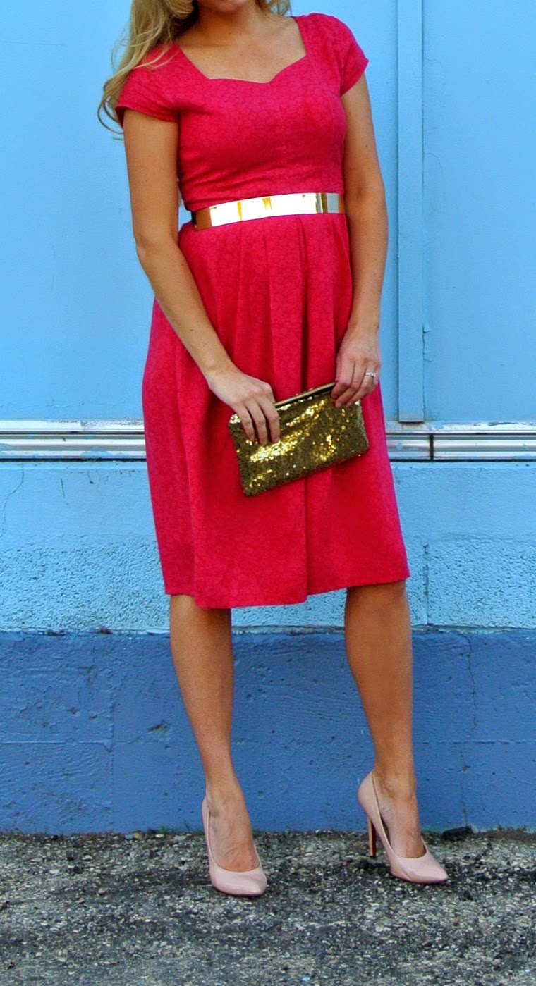 Red dress and gold accessories #tagsthrift