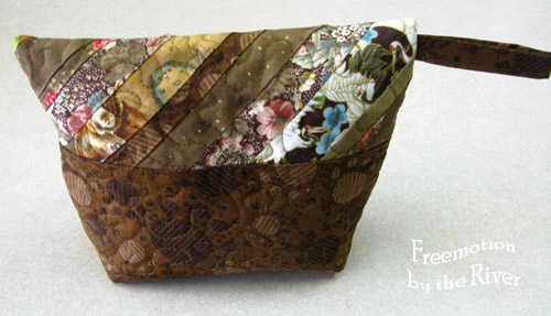 Brown quilted pouch backside