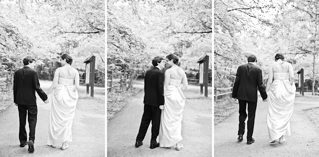 photos of bride and groom walking at Turkey Run State Park in Marshal, IN