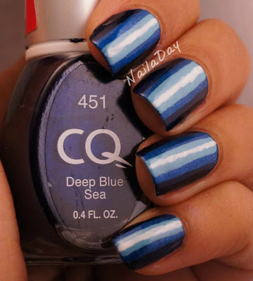 NailaDay: CQ Deep Blue Sea Illusion Stripes
