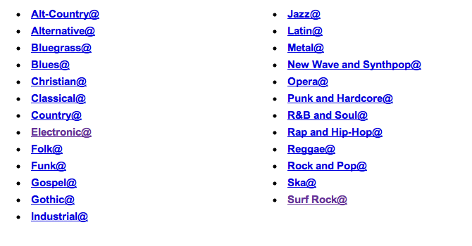 Different Music Genres List