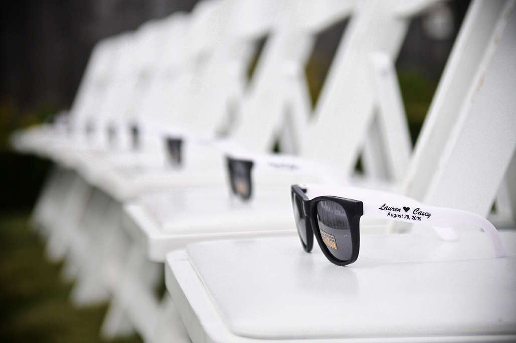 Sungles For Guest At Outdoor Wedding Via