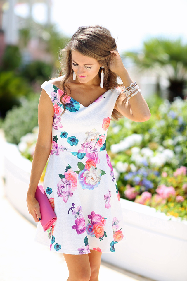 perfect floral dress - it's off shoulder!