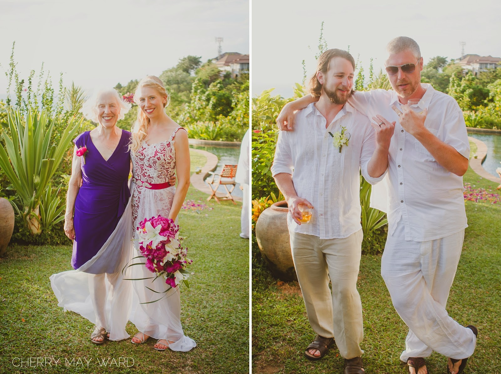 bride with her mother, groom with his best friend, destination wedding in Thailand