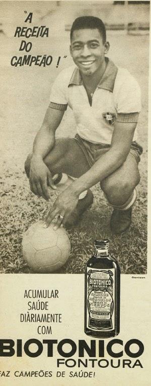 Propaganda do Biotônico Fontoura com o Pelé, nos anos 60.